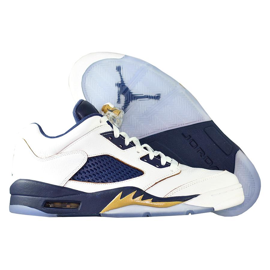 Кроссовки JordanКроссовки баскетбольные Air Jordan 5 (V) Retro Low quot;Dunk From Abovequot;<br><br>Цвет: Белый<br>Выберите размер US: 10
